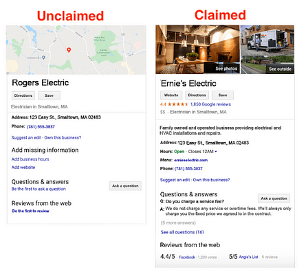 Unclaimed vs Claimed listing